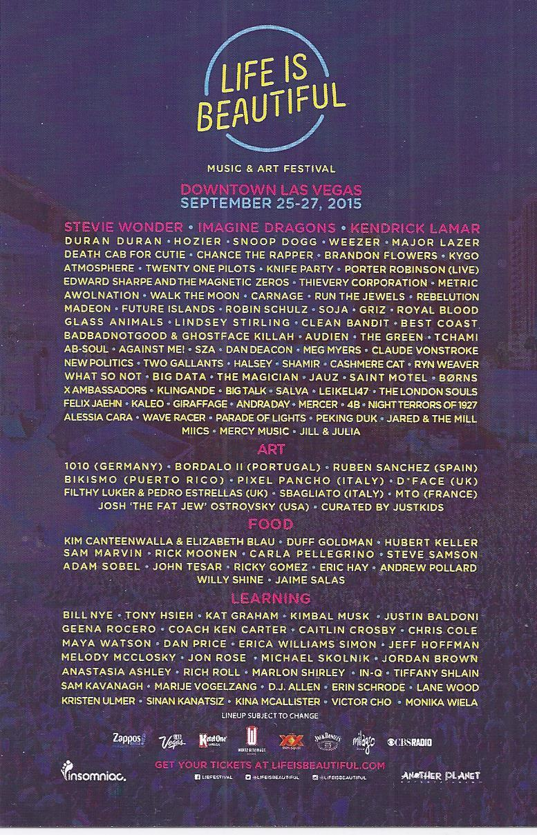 LIFE IS BEAUTIFUL Music & Art Festival 2015 Promo Card