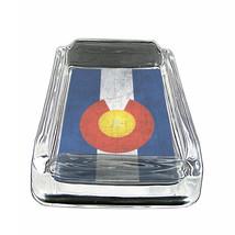 """Colorado Flag Glass Ashtray D1 4""""x3"""" Denver 420 State - $9.85"""