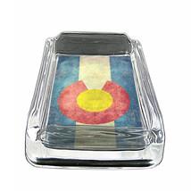 """Colorado Flag Glass Ashtray D2 4""""x3"""" Denver 420 State - $9.85"""