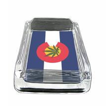 """Colorado Flag Glass Ashtray D5 4""""x3"""" Denver 420 State - $9.85"""