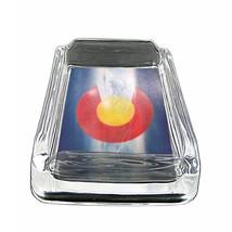 """Colorado Flag Glass Ashtray D8 4""""x3"""" Denver 420 State - $9.85"""