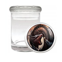 Dragon D15 Odorless Air Tight Medical Glass Jar Container Mythology Beast Fire - $7.88