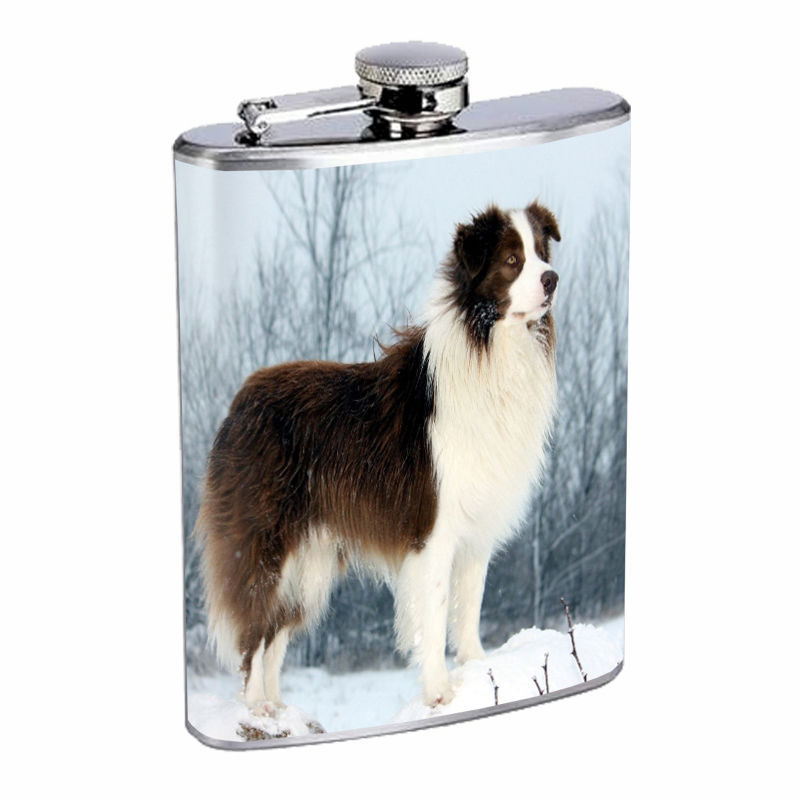 Dog Border Collie 02 Stainless Steel Flask 8oz