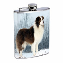 Dog Border Collie 02 Stainless Steel Flask 8oz - $11.41
