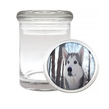 Dog Husky 01 Odorless Air Tight Medical Glass Jar - $12.95