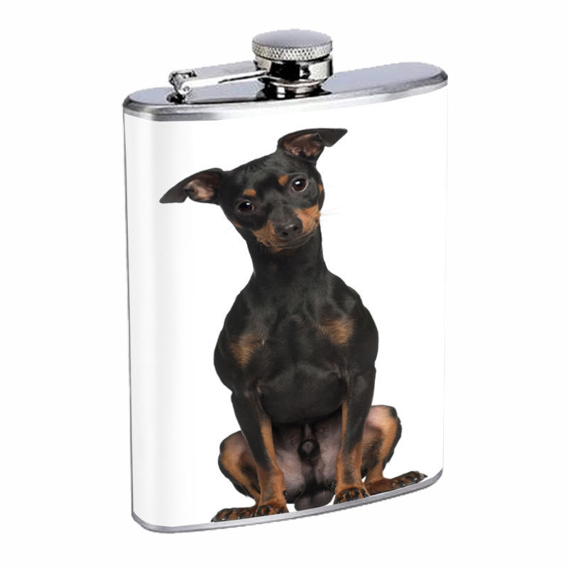 Dog Miniature Pinscher 02 Stainless Steel Flask 8oz