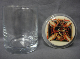 """Flaming Iron Cross Skull W/ Snake  3"""" X 2"""" Air Tight Medical Glass Jar Container - $12.95"""