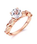 14K Rose Gold Vintage Wedding Engagement Ring 1.2 Carat Topaz & Natural ... - $399.99