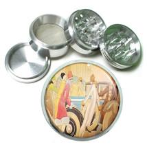 Flappers Vintage Car Art Deco Metal Silver Aluminum Grinder D22 63mm Herb Spice - $10.26