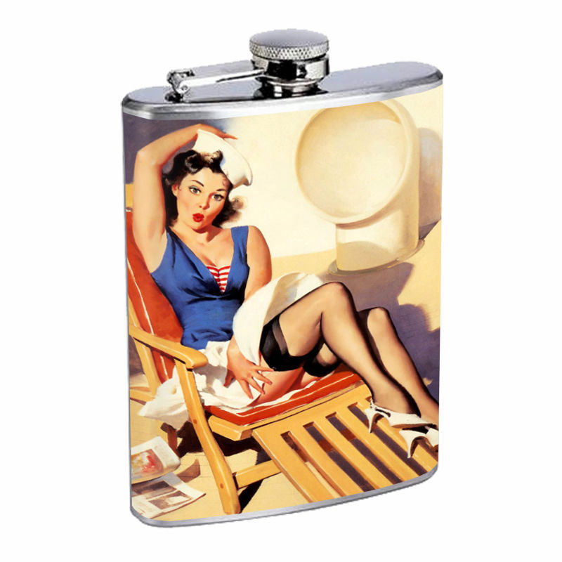 Flask 8oz Stainless Steel Classic Vintage Model Pin Up Girl Design-065