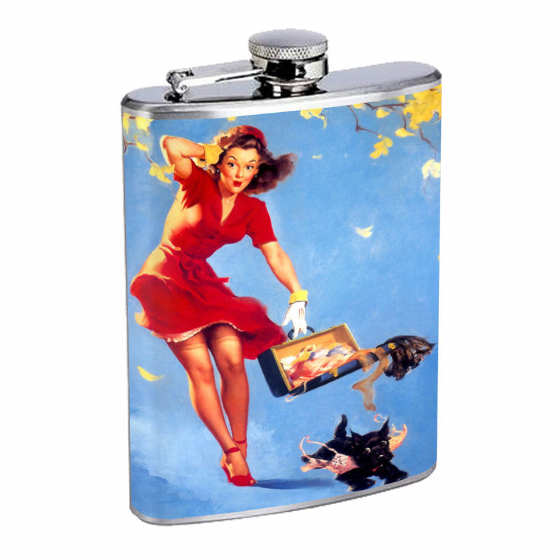 Flask 8oz Stainless Steel Classic Vintage Model Pin Up Girl Design-165