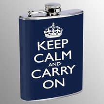 Flask 8oz Stainless Steel Keep Calm and Carry On Design 17 Blue Crown - €8,07 EUR