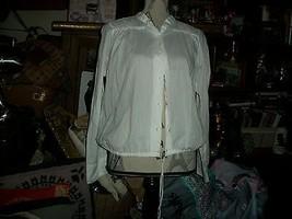 Lucky Brand Cute Crisp Chiffon White Peasant Blouse Size S - $17.82