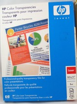 HP Color Transparencies for Laser Printer 5mil 8.5 X 11 - $14.45