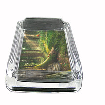"Forest Glass Ashtray D4 4""x3"" Timber Trees the Woods Landscape Forestland - $9.85"