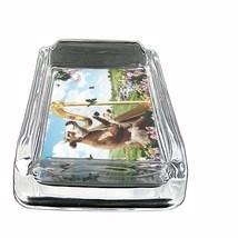 "Funny Cow Glass Ashtray D2 4""x3"" Playing Harp Garden Butterflies - $9.85"