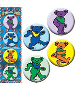 GRATEFUL DEAD BUTTON PACK / SET OF 4 DANCING BEARS ROCK AND ROLL - $4.90