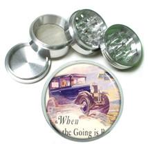Gas Station 1920's Vintage Ad Metal Silver Aluminum Grinder D30 63mm Herb Spice - $10.26
