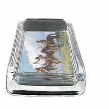 "Indian Native America Glass Ashtray D2 4""x3"" Tirbes Tent Wild West - $9.85"