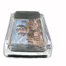 """Indian Native American Glass Ashtray D4 4""""x3"""" Tirbes Tent Wild West - $9.85"""