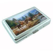 Indian Native American Metal Silver Cigarette Case D1 Tribes Tent Wid West - $8.86