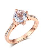 14K Rose Gold Vintage Wedding Engagement Ring 1.2 Carat Topaz Natural Di... - $429.99