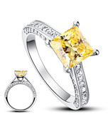1.5 Carat Princess Cut Yellow Canary Created Diamond 925 Silver Wedding ... - $129.99