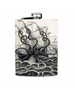 Kraken Vintage Octopus Design 02 Flask 8oz Stainless Steel Ship Attack B&W - $12.82