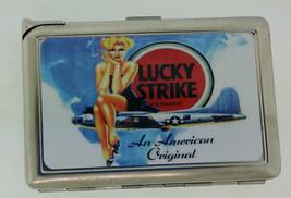 Lucky Strike Bomber Ad Cigarette Case with lighter ID Holder Wallet LS02 Vintage - $12.82