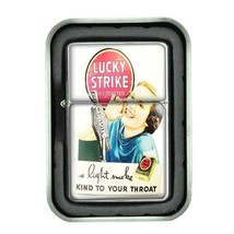 Lucky Strike Oil Lighter With Case Vintage Cigarette Smoking Ad Classic Logo D28 - $12.95
