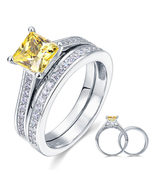 1.5 Carat Princess Cut Yellow Canary Created Diamond 925 Silver Wedding ... - $149.99