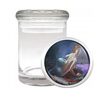 Mermaid D5 Odorless Air Tight Medical Glass Jar Container Mythological Creature - $7.88
