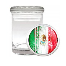 Mexico Flag D7 Odorless Air Tight Medical Glass Jar Container Mexican Pride - $9.85