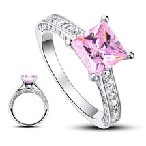 1.5 Carat Princess Cut Fancy Pink Created Diamond 925 Silver Wedding Ring - $129.99