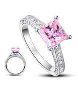 1.5 Carat Princess Cut Fancy Pink Created Diamond 925 Silver Wedding Ring - $129.99