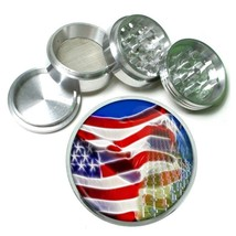 Memorial Day Aluminum Grinder D1 63mm 4 Piece American Heros Veterans USA Flag - $9.85