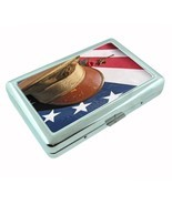 Memorial Day Metal Silver Cigarette Case D4 American Heros Flag Veterans... - $5.89