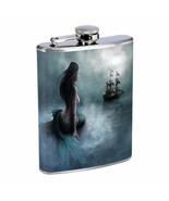 Mermaid D3 Flask 8oz Stainless Steel Mythological Aquatic Creature Folklore - $12.82