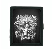 Metal Cigarette Case Holder Box Skull D 7 Ghost Skull Riding a Motorcycle - $4.71
