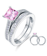 1.5 Carat Princess Cut Fancy Pink Created Diamond 925 Silver Wedding Rin... - $149.99