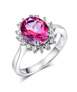 14K White Gold Bridal Engagement Ring 2.8 Ct PinkTopaz 0.35 Ct Natural D... - $699.99