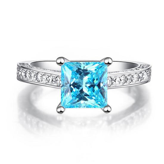 1.5 Carat Princess Cut Blue Created Diamond 925 Silver Wedding Engagement Ring