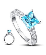 1.5 Carat Princess Cut Blue Created Diamond 925 Silver Wedding Engagemen... - $129.99