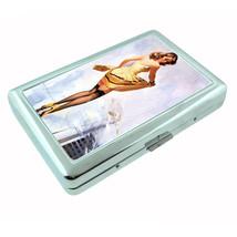 Metal Silver Cigarette Case Holder Classic Vintage Model Pin Up Girl Des... - $10.42