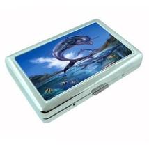 Metal Silver Cigarette Case Holder Dolphin Design 06 Cetacean Mammal Marine Life - $5.89