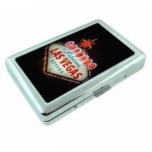 Metal Silver Cigarette Case Las Vegas Design 01 Vacation City Lights Casino - $5.89