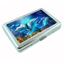 Metal Silver Cigarette Case Holder Dolphin Design 04 Cetacean Mammal Marine Life - $5.89