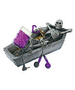Eternal Rest Reclining Human Skeleton in Open Coffin Spooky Halloween Decor - $34.60