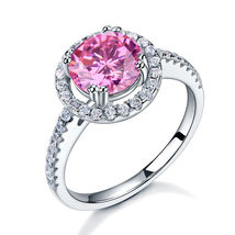 925 Sterling Silver Wedding Engagement Halo Ring 2 Carat Pink Created Diamond  - $99.99