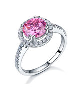 925 Sterling Silver Wedding Engagement Halo Ring 2 Carat Pink Created Di... - $99.99